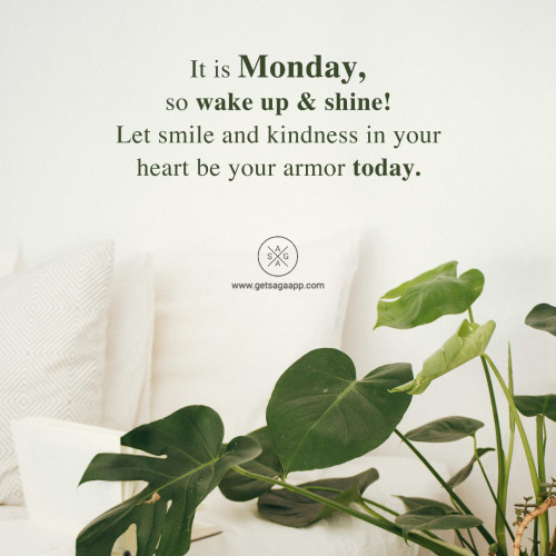 It is Monday, so wake up & shine! Let smile and kindness in your heart be your armor today.